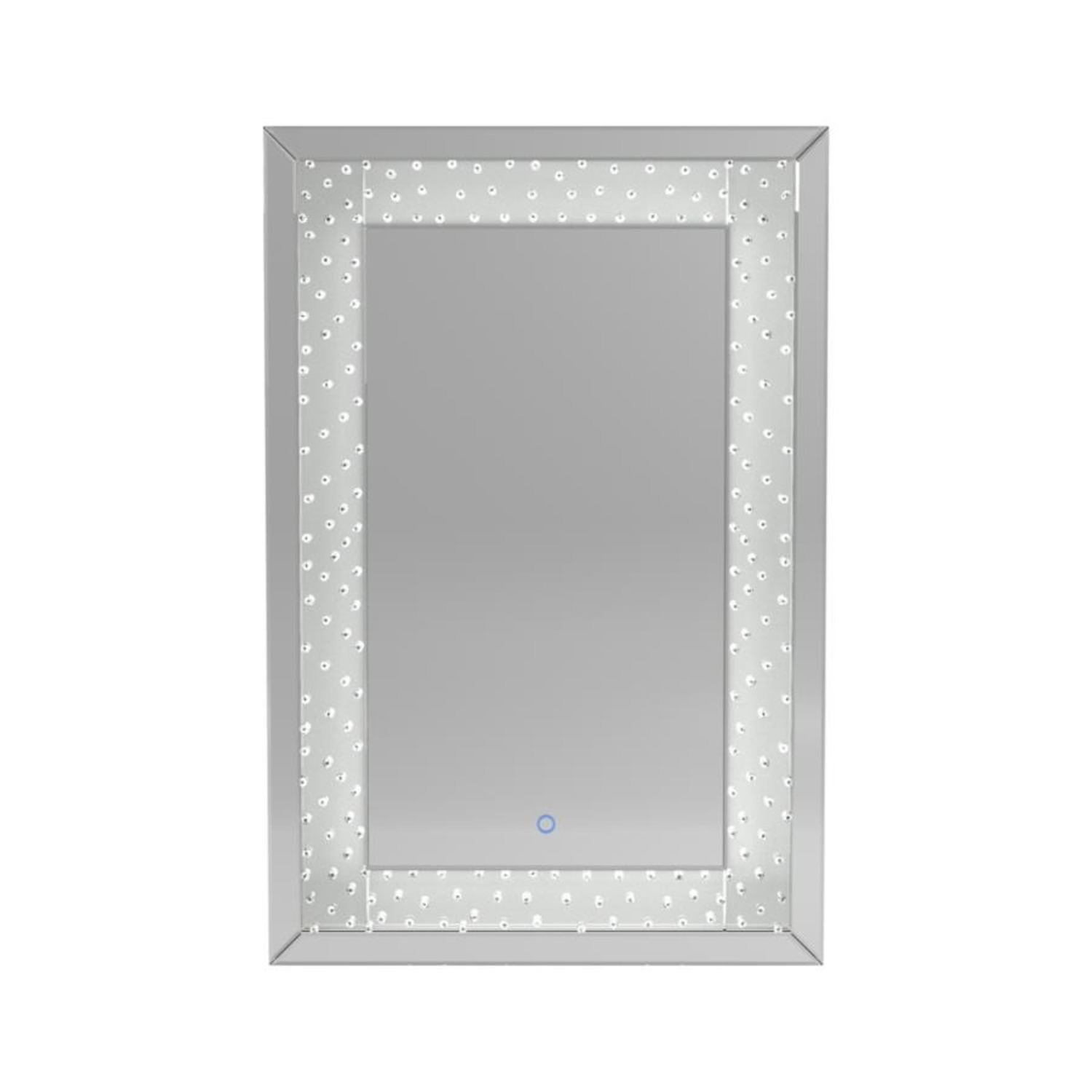 Wall Mirror In Silver Frame W/ Acrylic Crystals - image-2