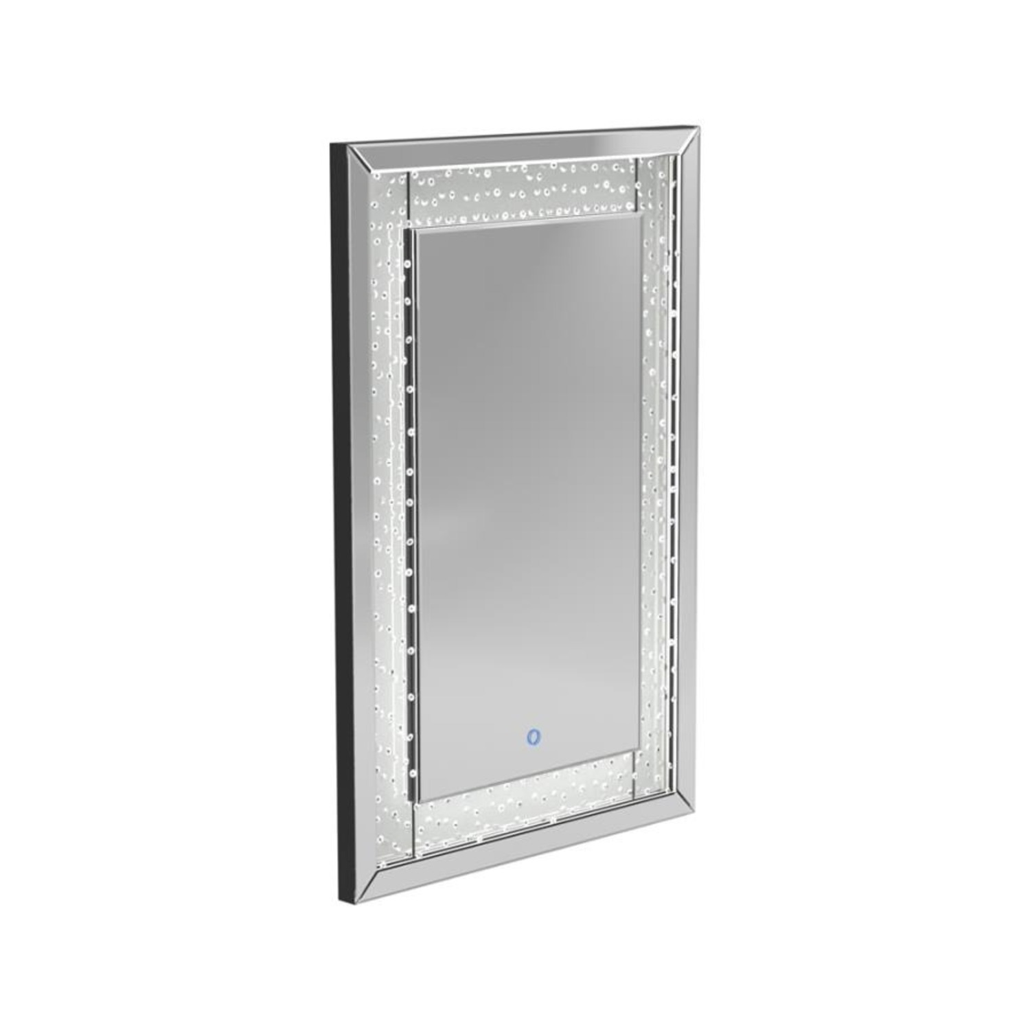 Wall Mirror In Silver Frame W/ Acrylic Crystals - image-0
