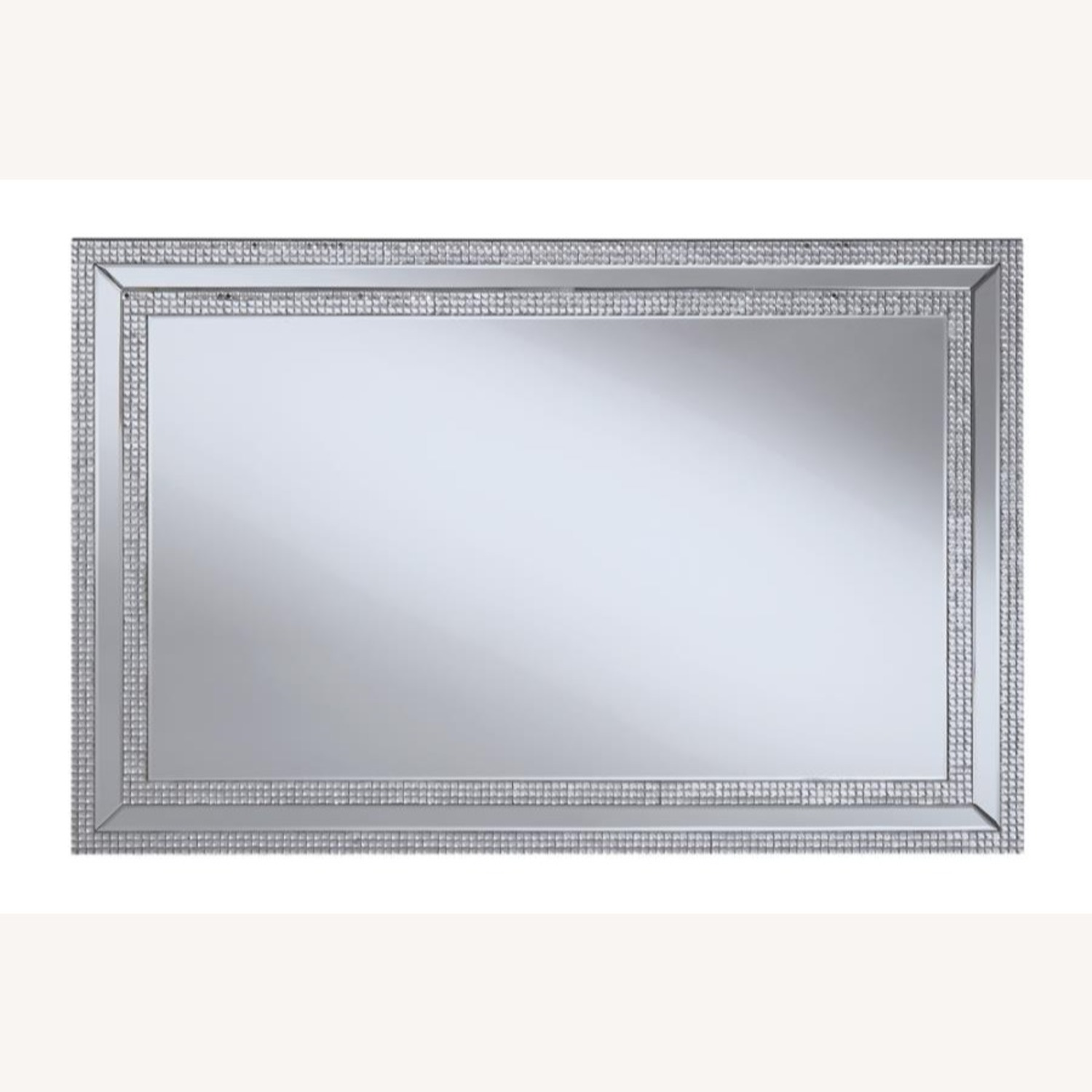 Wall Mirror In Clear Finish W/ Rows of Jewels - image-1