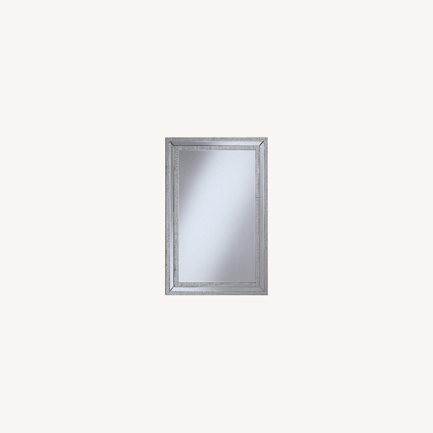 Wall Mirror In Clear Finish W/ Rows of Jewels - image-3