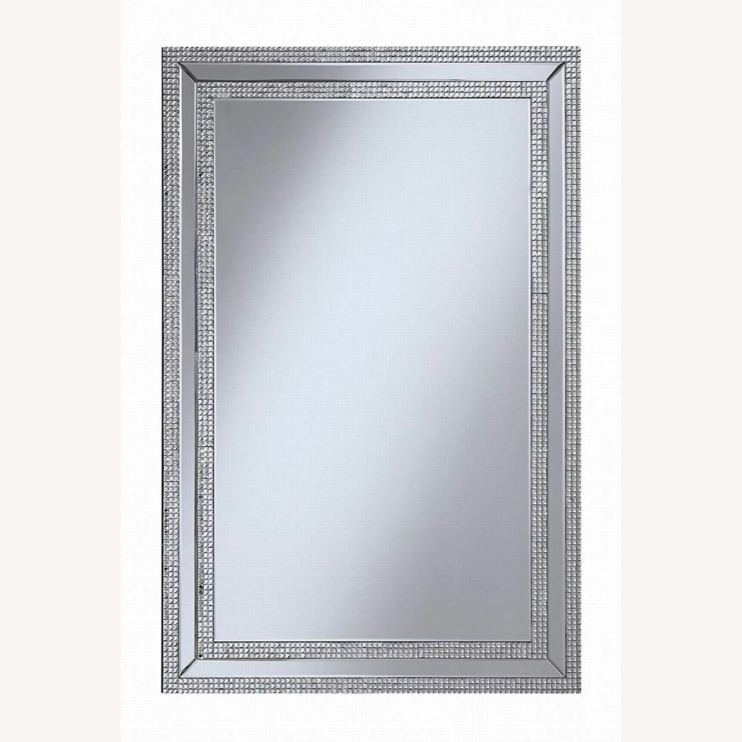Wall Mirror In Clear Finish W/ Rows of Jewels - image-0