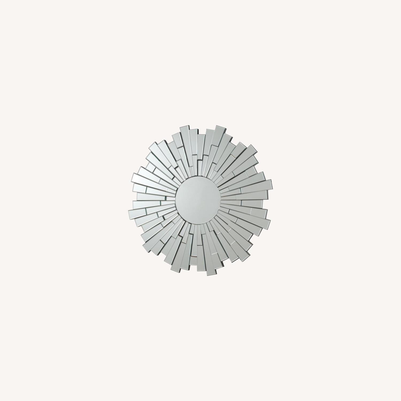 Circular Mirror In Clear Finish W/ Sunburst Design - image-3
