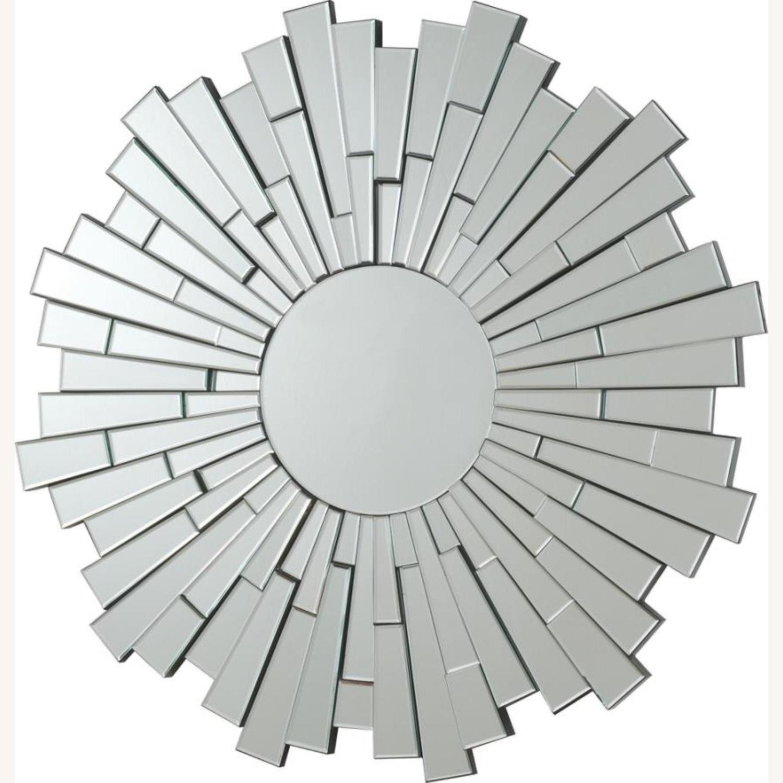 Circular Mirror In Clear Finish W/ Sunburst Design - image-0