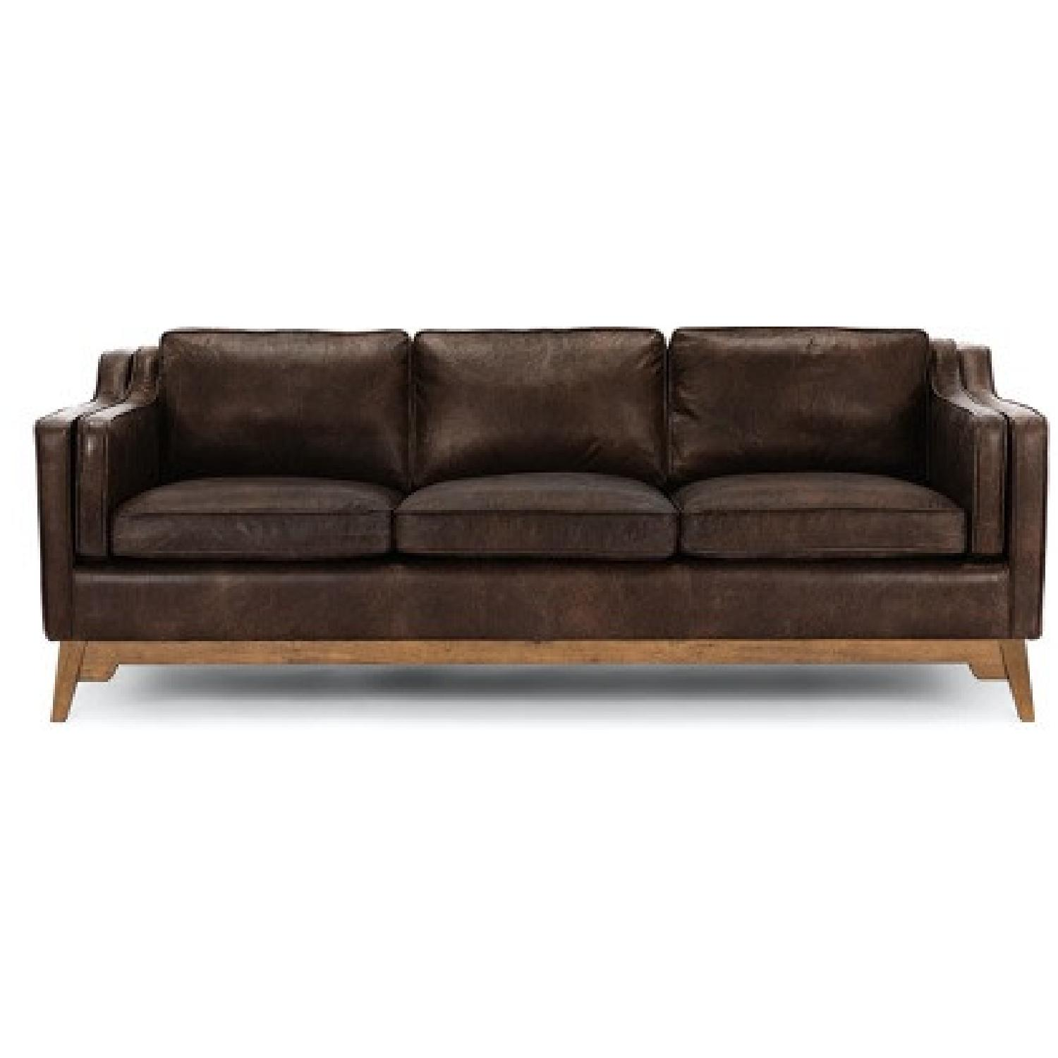 Article Worthington Brown Leather 3Person Couch - image-5