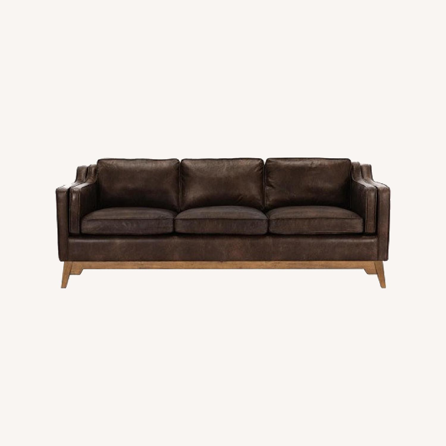 Article Worthington Brown Leather 3Person Couch - image-0