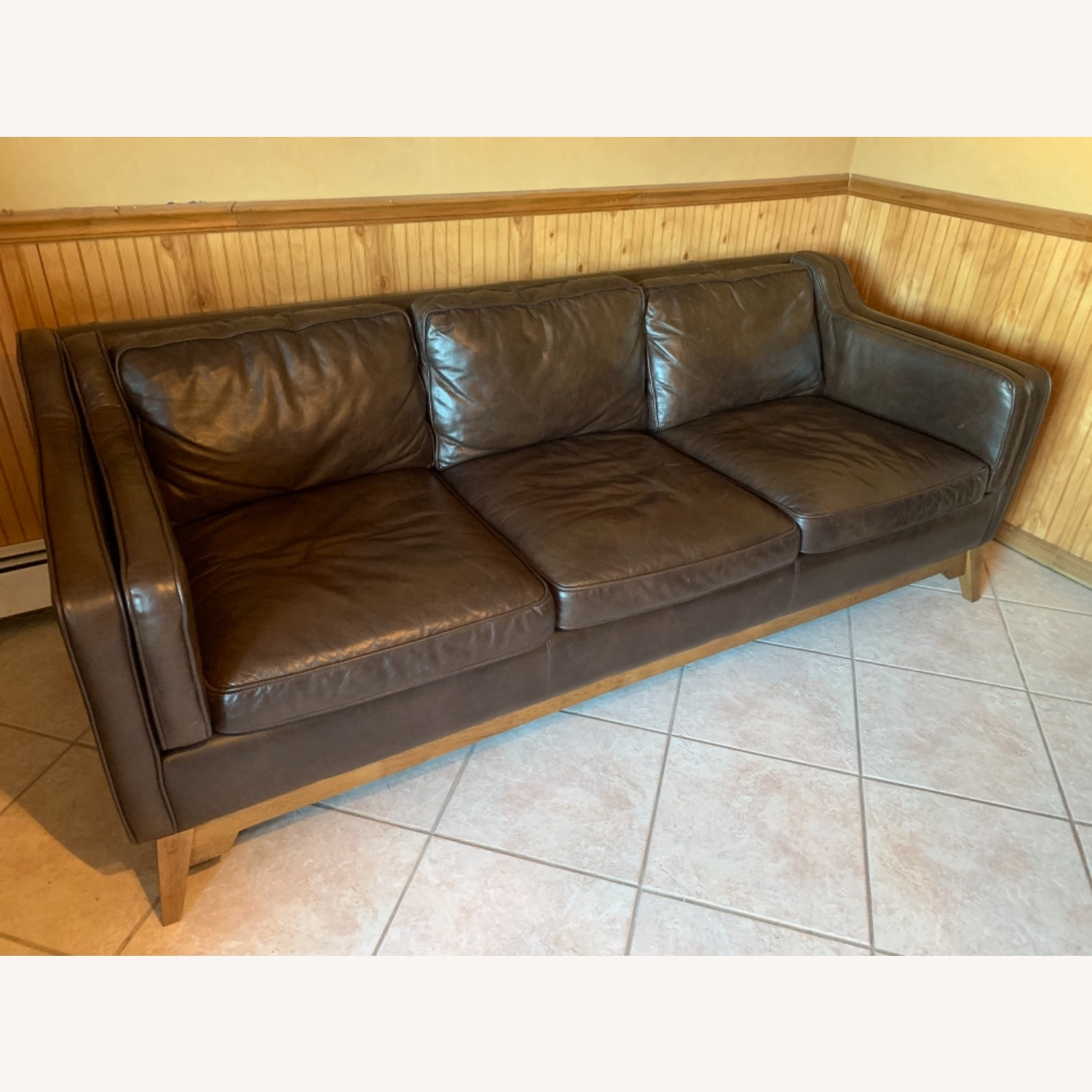 Article Worthington Brown Leather 3Person Couch - image-2