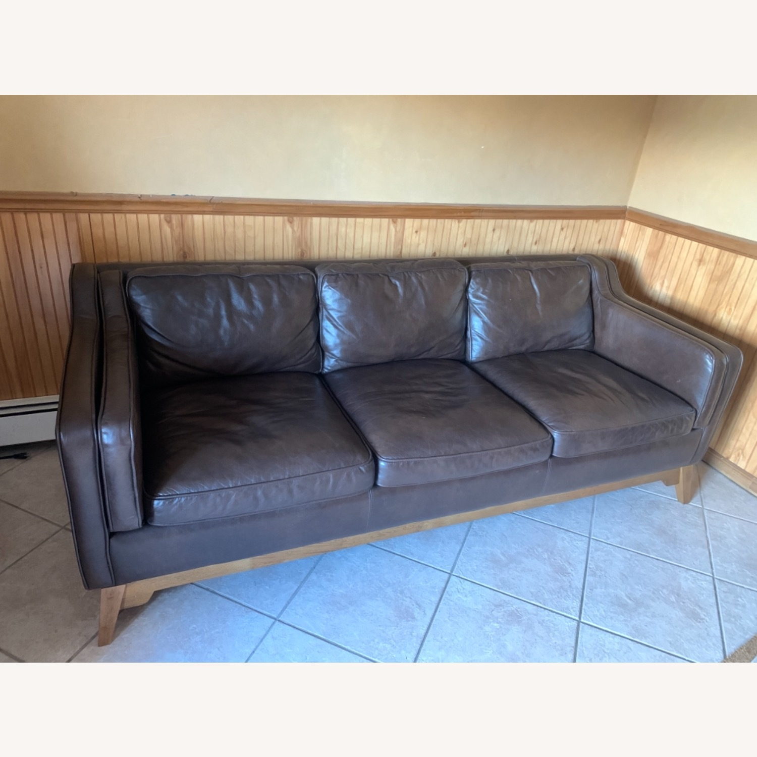 Article Worthington Brown Leather 3Person Couch - image-1