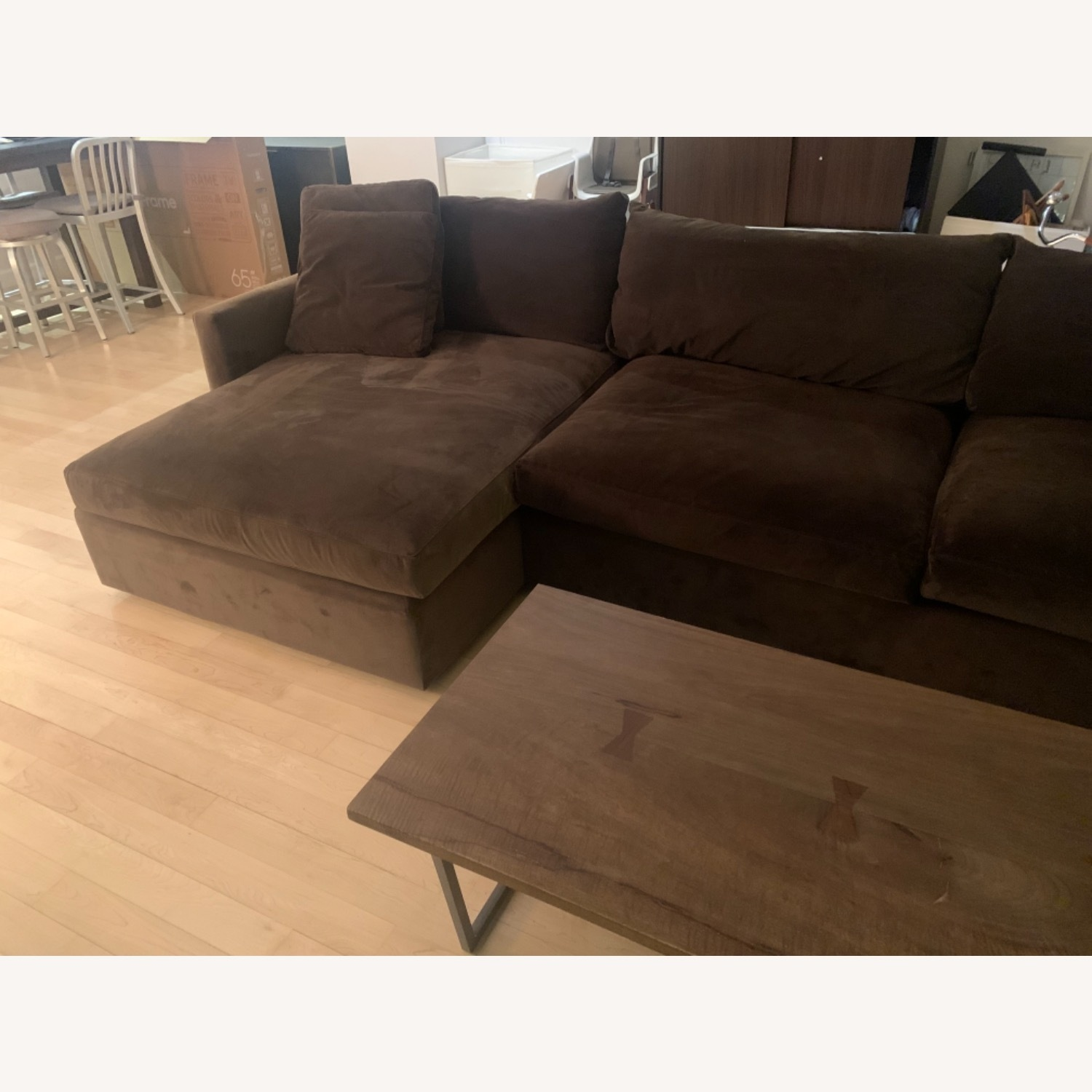 Crate & Barrel Lounge Chaise Brown Color - image-2
