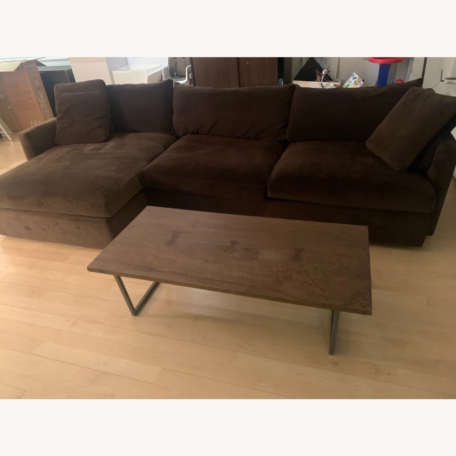 Crate & Barrel Lounge Chaise Brown Color - image-1