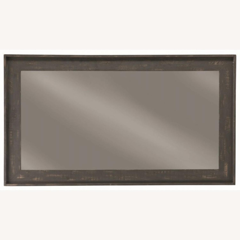 Rectangular Mirror W/ Distressed Brown Frame - image-1