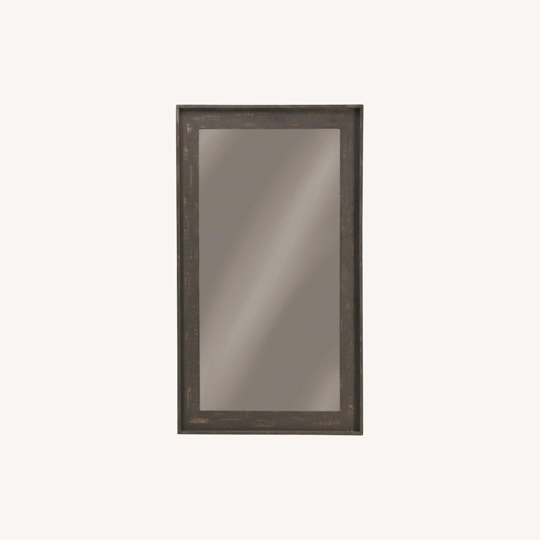 Rectangular Mirror W/ Distressed Brown Frame - image-3