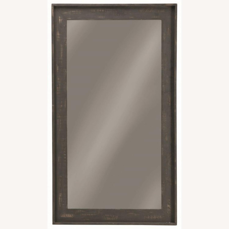 Rectangular Mirror W/ Distressed Brown Frame - image-0