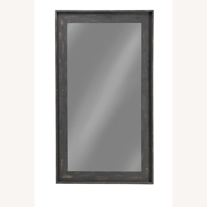 Rectangular Mirror W/ Distressed Brown Frame - image-2