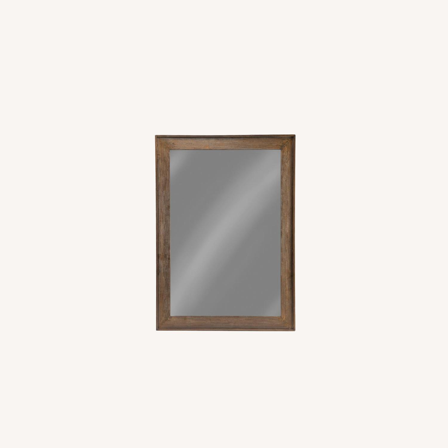 Mirror W/ Contoured Pine Frame & Distressed Look - image-3