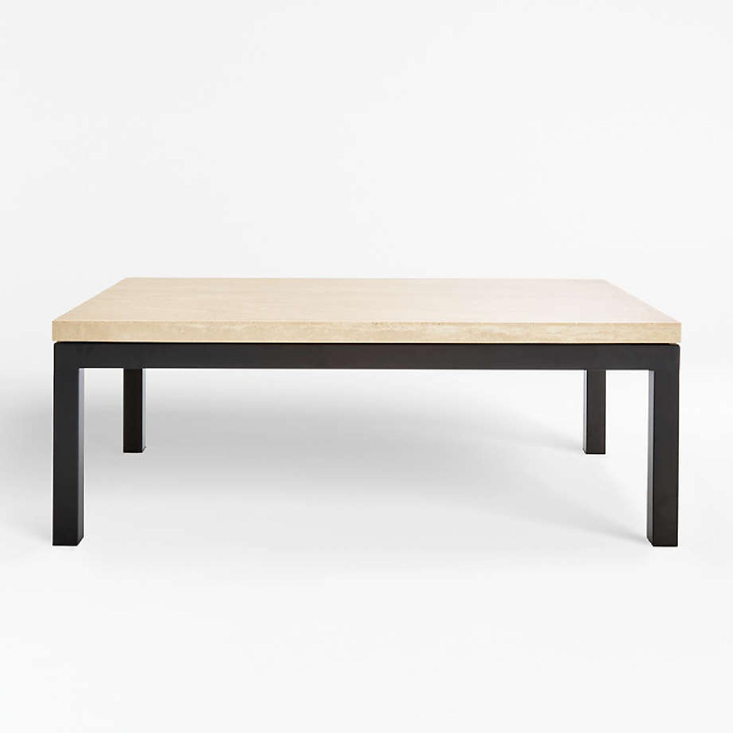 Crate & Barrel Parsons Travertine Coffee Table - image-4