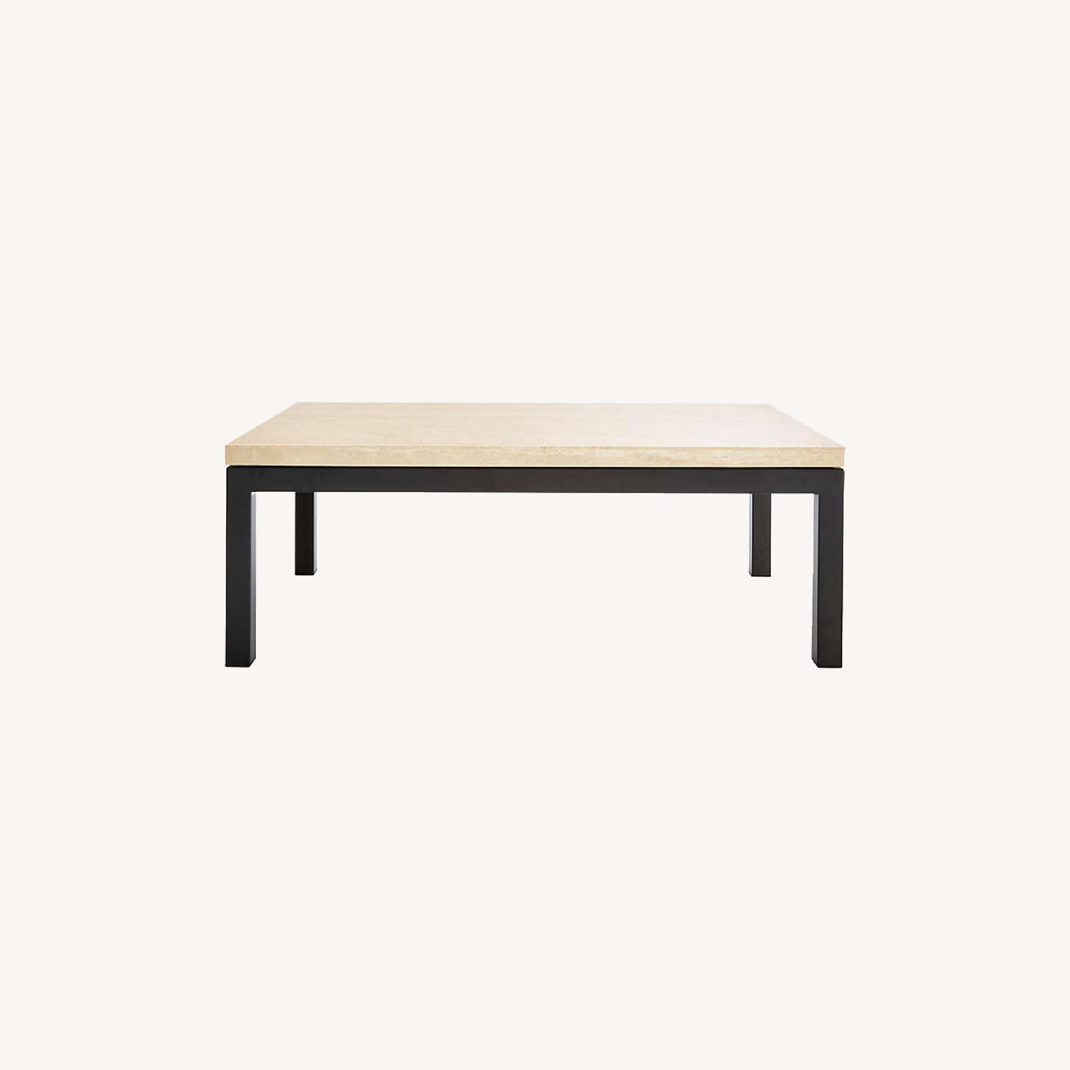 Crate & Barrel Parsons Travertine Coffee Table - image-0