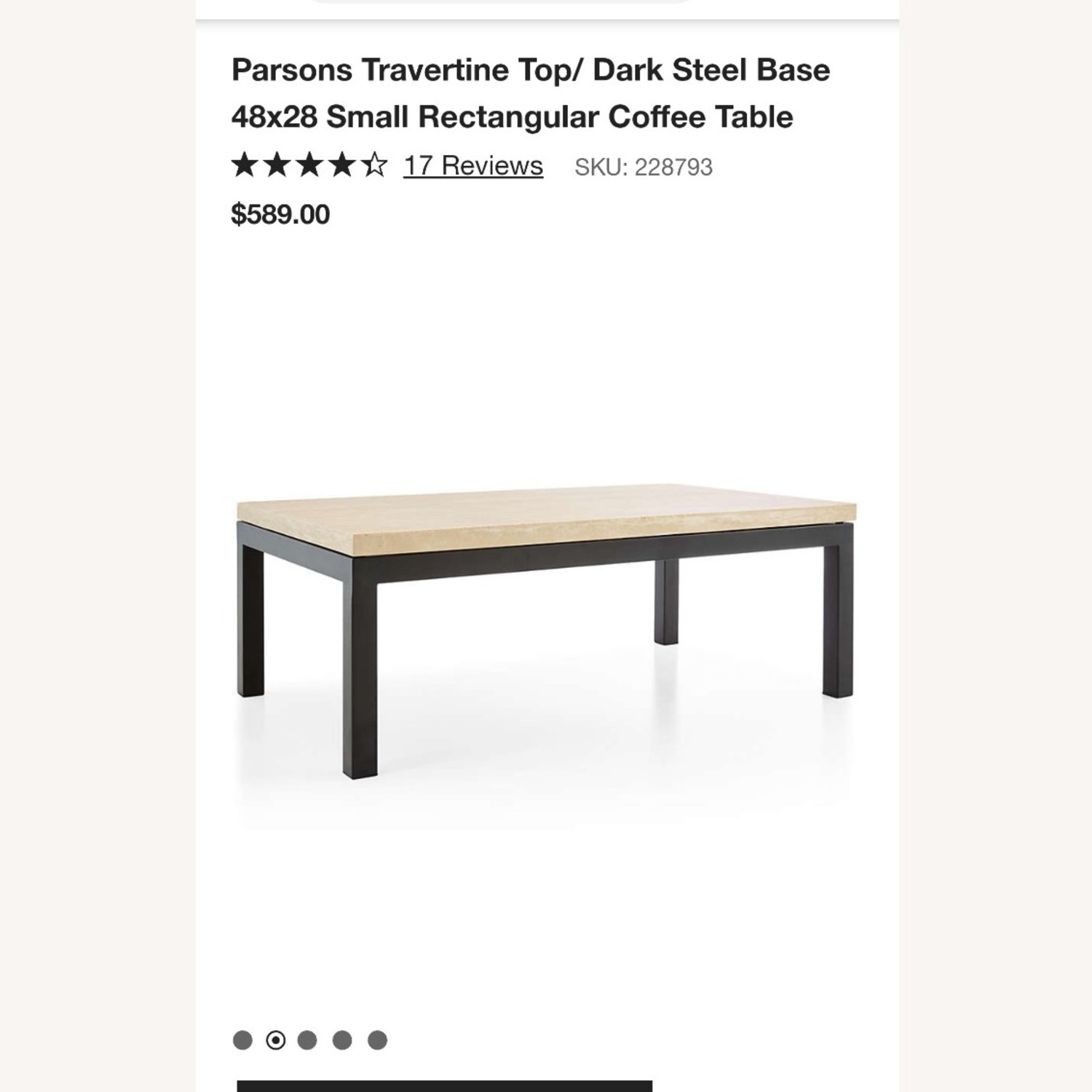 Crate & Barrel Parsons Travertine Coffee Table - image-1