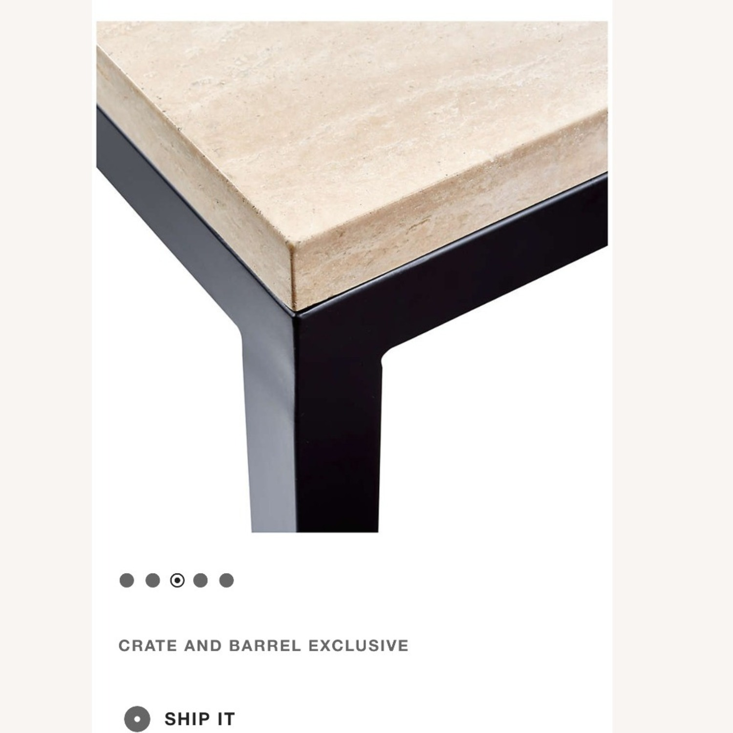 Crate & Barrel Parsons Travertine Coffee Table - image-2