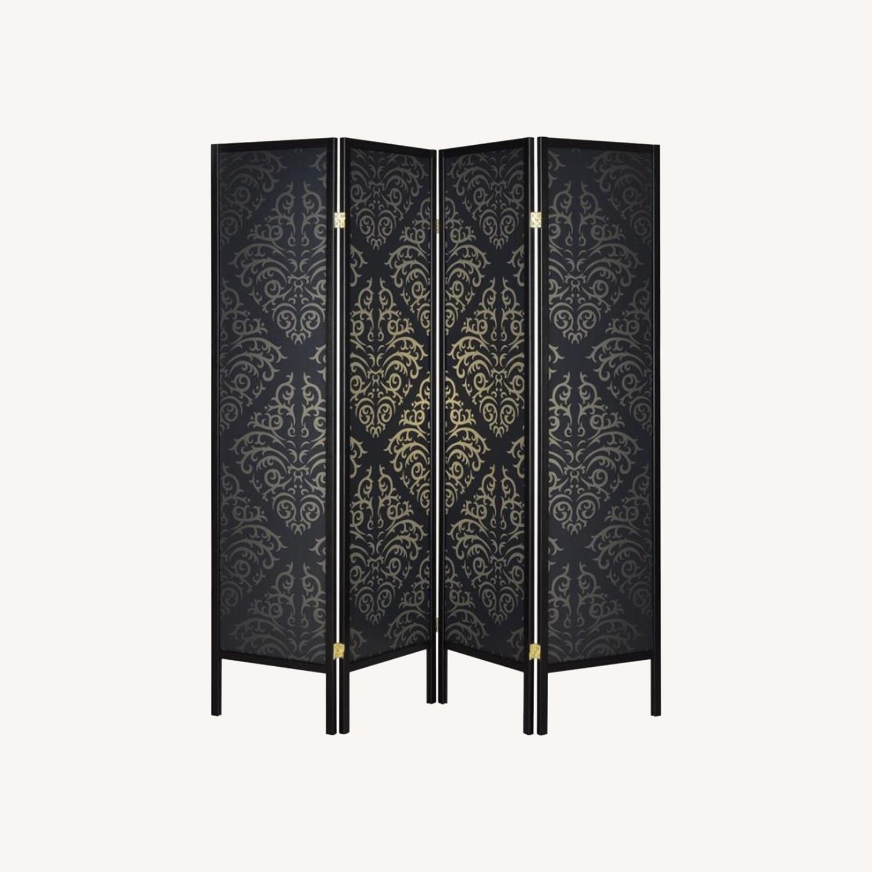 4-Panel Screen In Black & Gold Damask Pattern - image-4