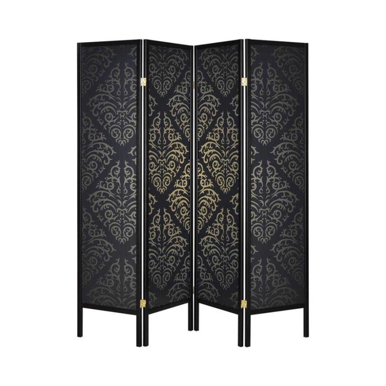 4-Panel Screen In Black & Gold Damask Pattern - image-0