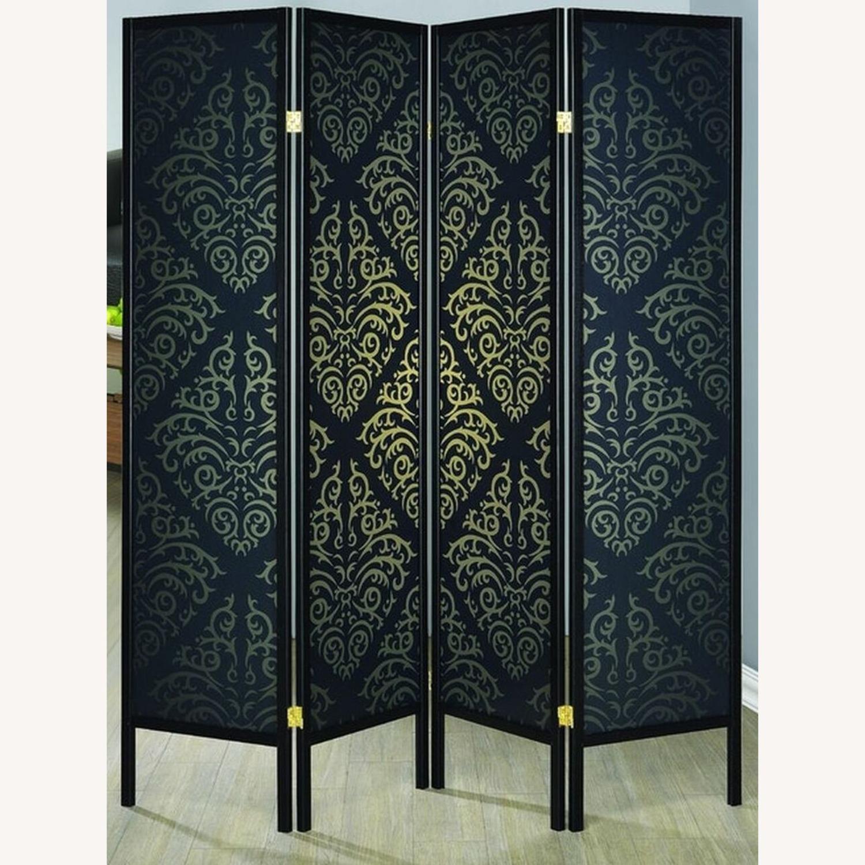 4-Panel Screen In Black & Gold Damask Pattern - image-1