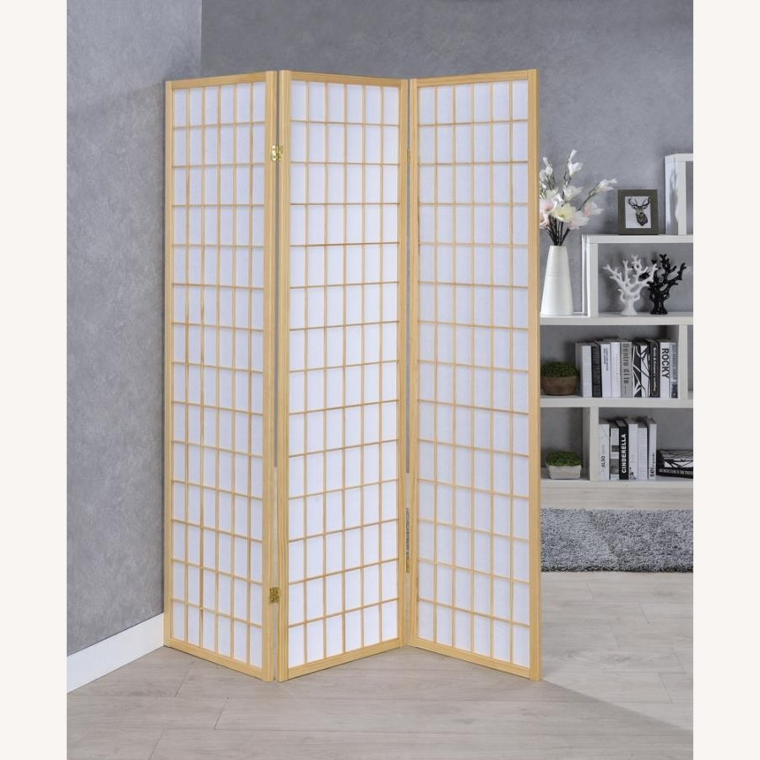 Screen In White Panels W/ Natural Wood Borders - image-2