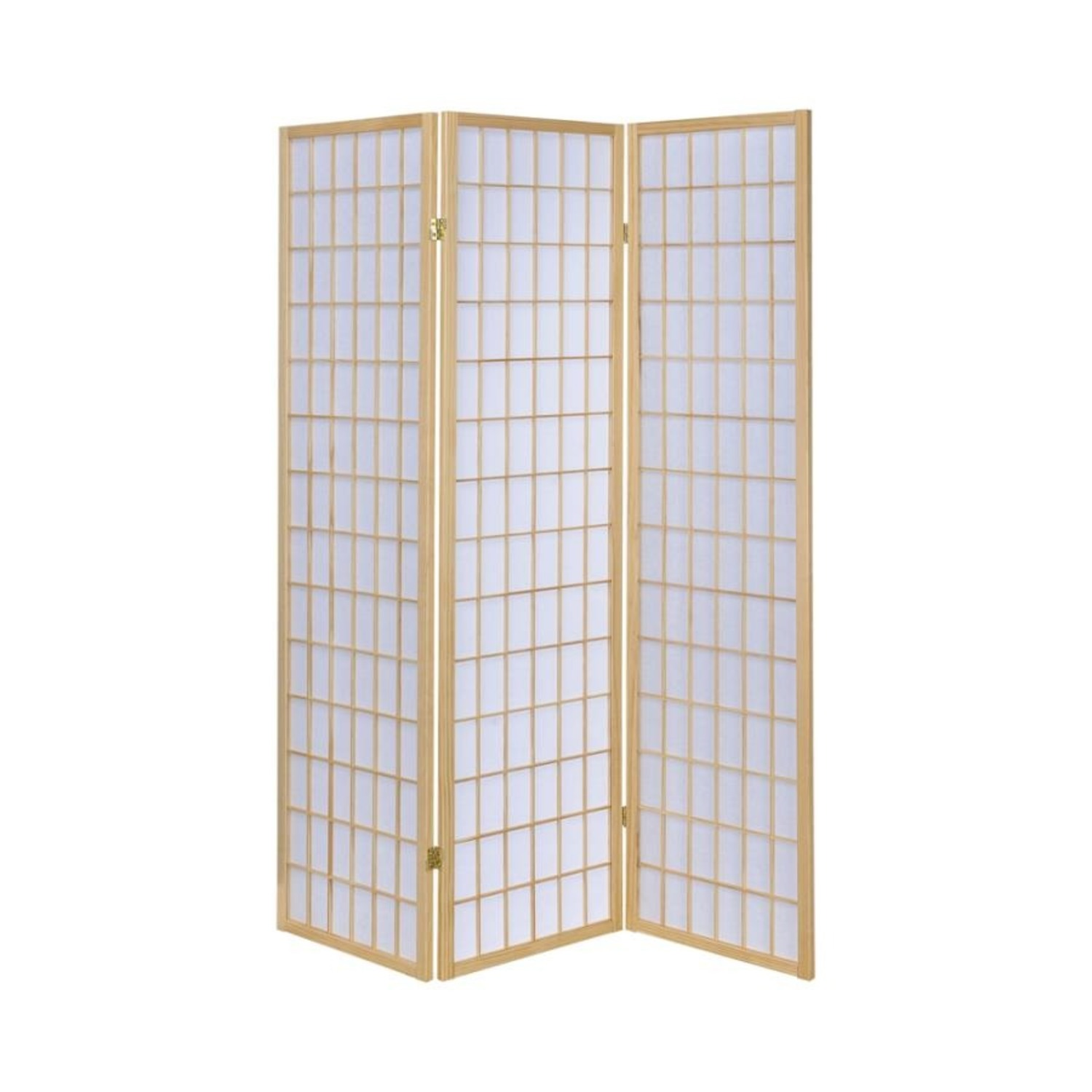 Screen In White Panels W/ Natural Wood Borders - image-0