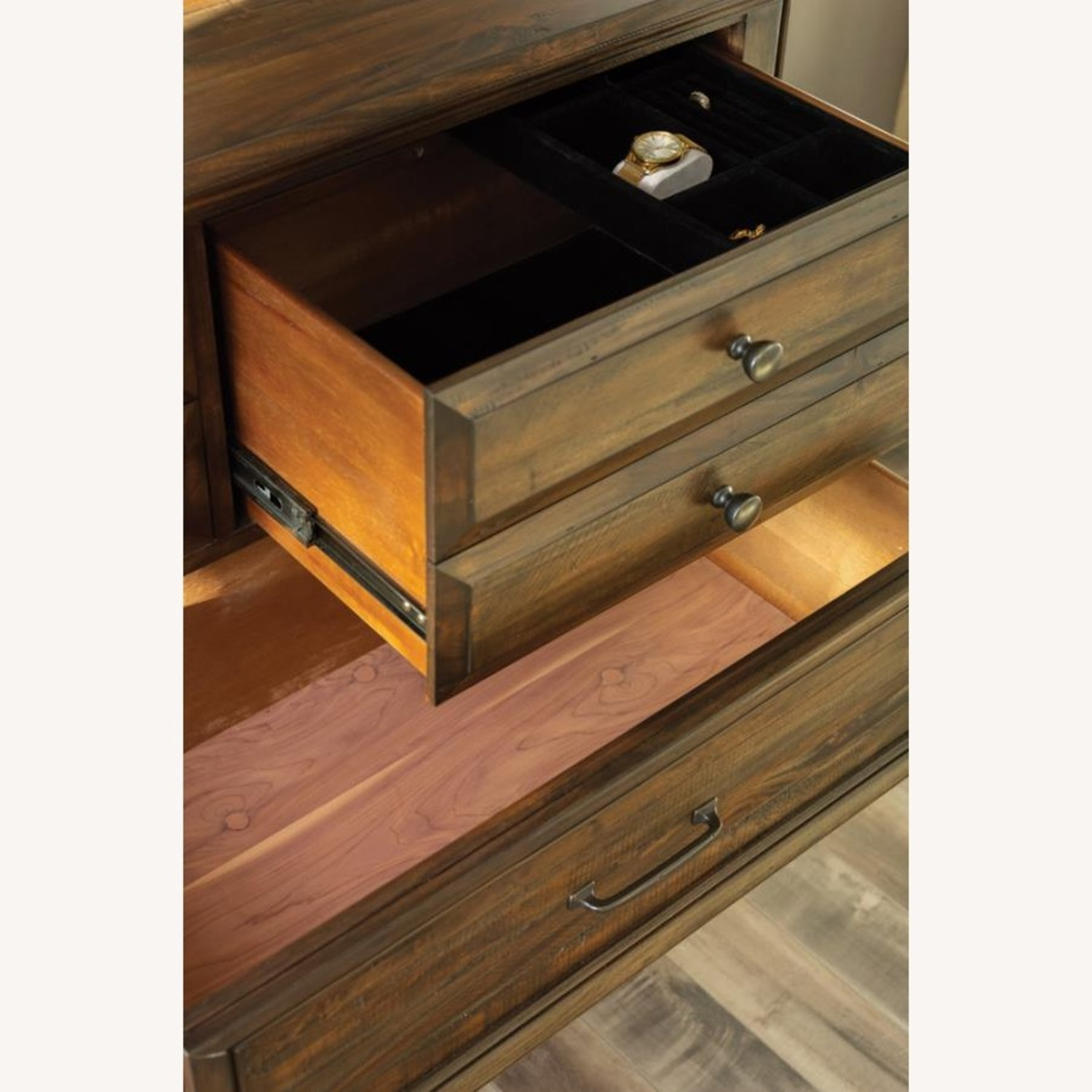 Door Chest In Weathered Burnished Brown Finish - image-1