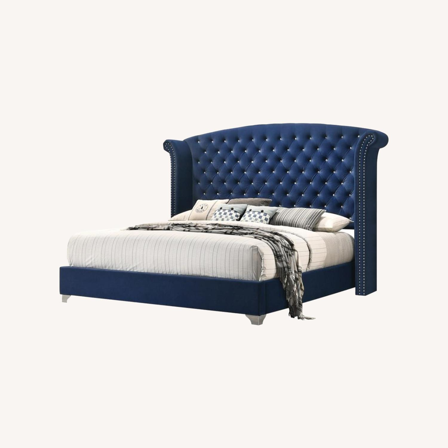 Queen Bed In Pacific Blue Matte Velvet Upholstery - image-3