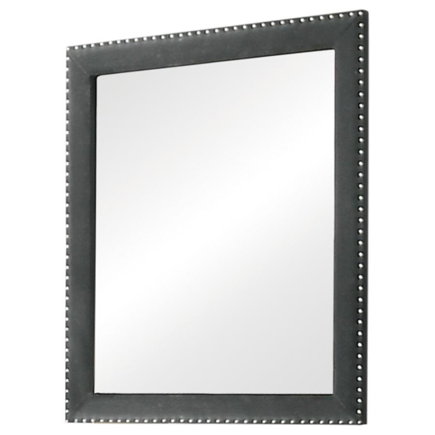 Mirror In Grey Frame Finish W/ Tufted Buttons - image-0