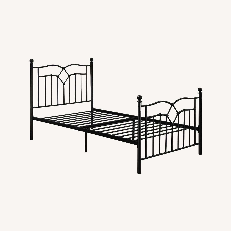 Twin Bed Constructed In Black Metal Steel Tubing - image-7