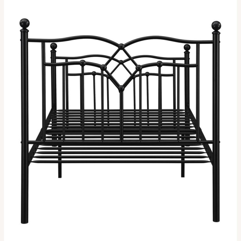Twin Bed Constructed In Black Metal Steel Tubing - image-3
