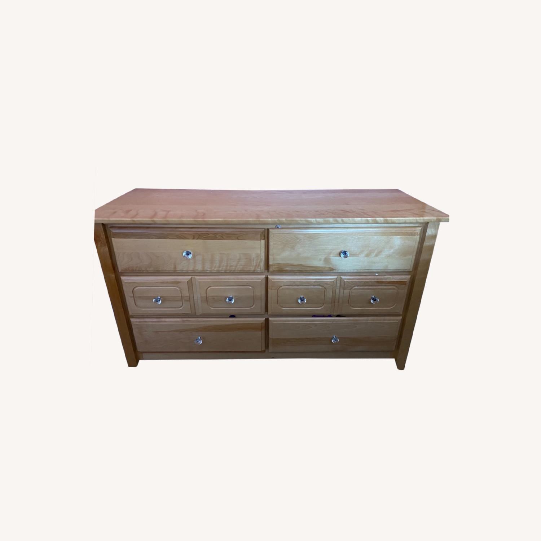 6 Drawer Natural Wood Dresser - image-7