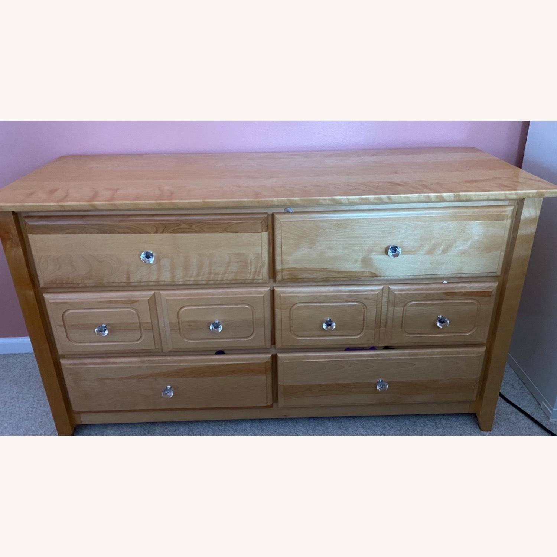 6 Drawer Natural Wood Dresser - image-1