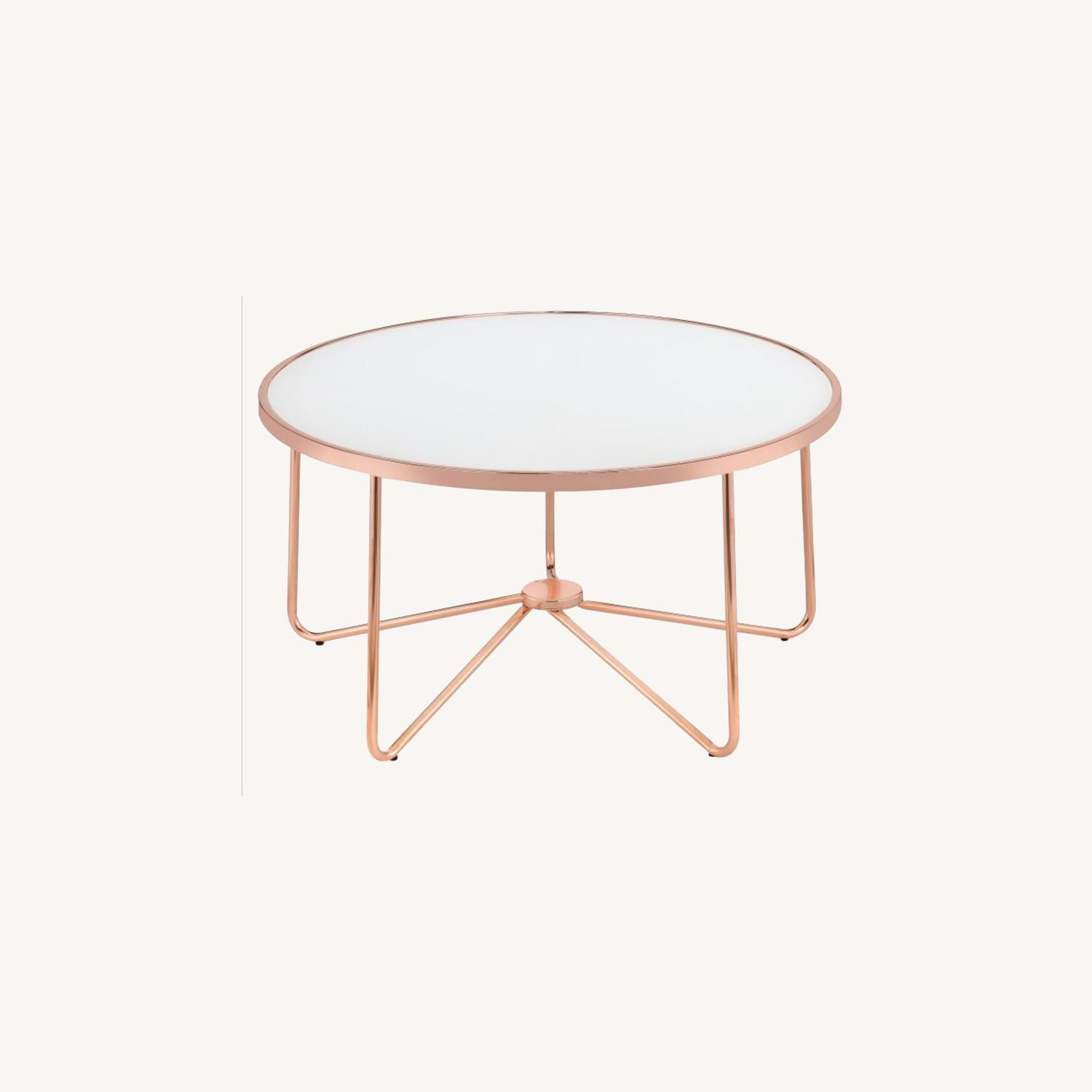 Hayneedle Frosted Glass Copper Coffee Table - image-0