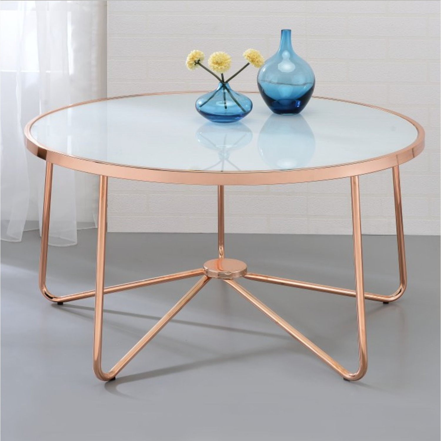 Hayneedle Frosted Glass Copper Coffee Table - image-1
