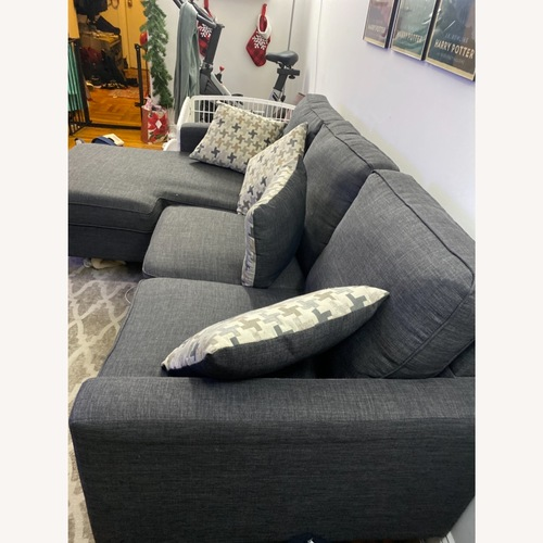 Used Bob Furniture Dark Charcoal Sofa with Chaise for sale on AptDeco