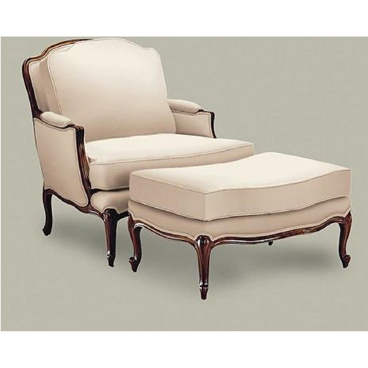 Ethan Allen Versailles Chair and Ottoman - image-4