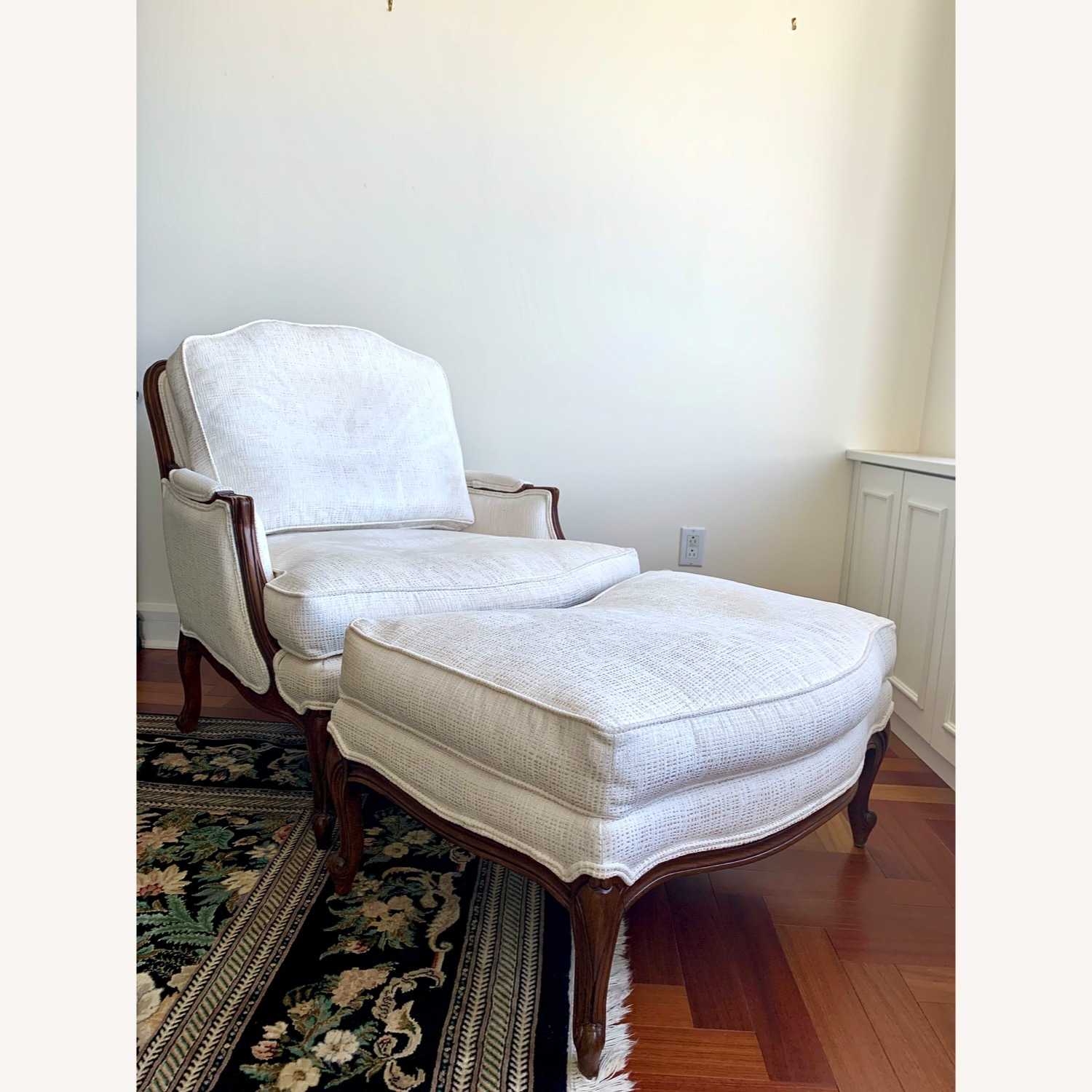 Ethan Allen Versailles Chair and Ottoman - image-3