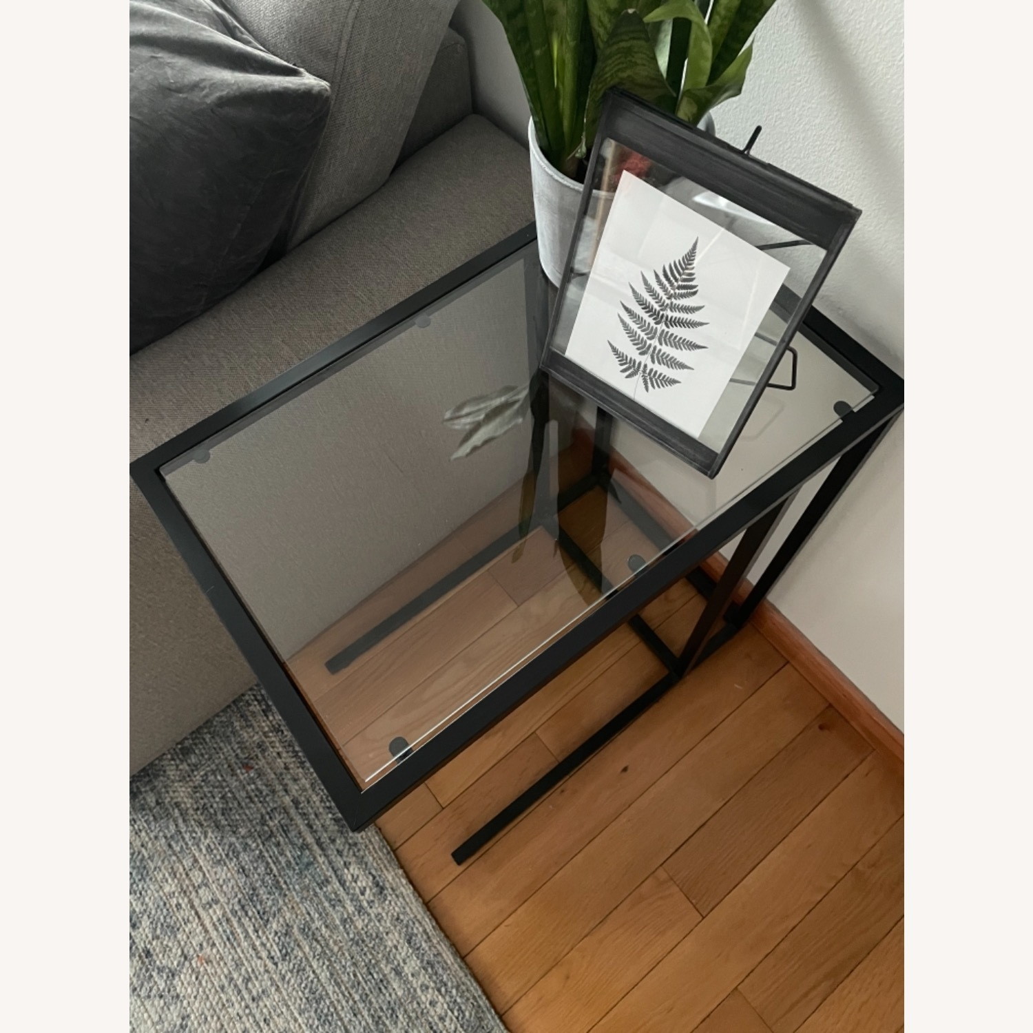 2 x Black Frame and Glass Side Tables - image-3