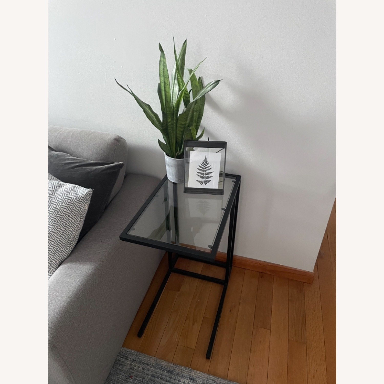 2 x Black Frame and Glass Side Tables - image-2