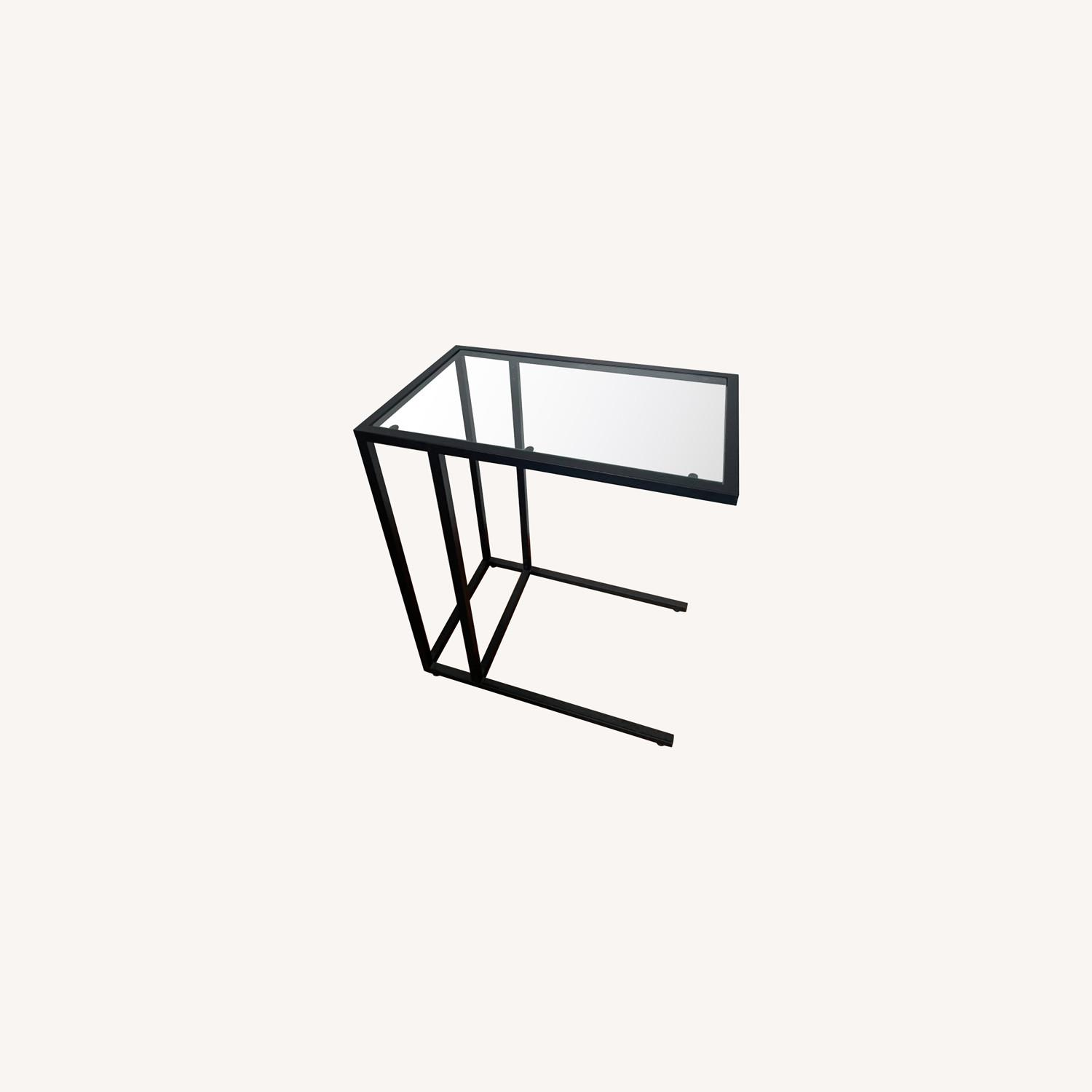 2 x Black Frame and Glass Side Tables - image-0