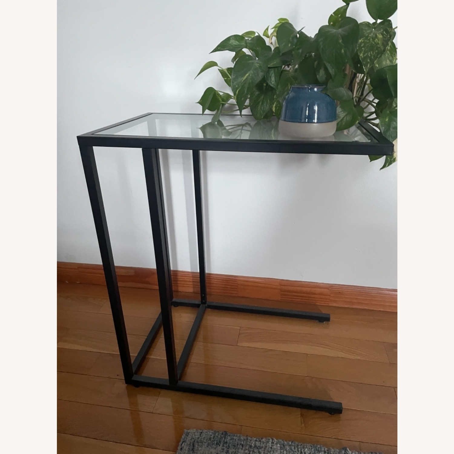 2 x Black Frame and Glass Side Tables - image-6