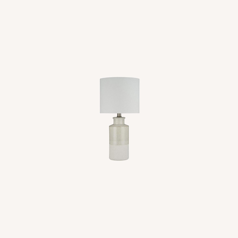 Modern Beige Ceramic Desk Table Lamp - image-0
