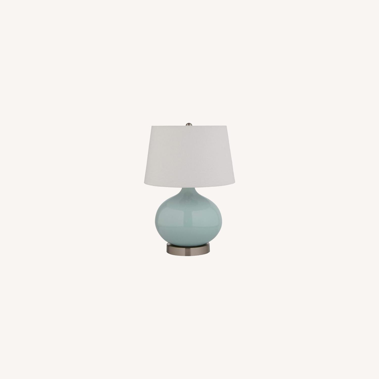 Modern Blue Ceramic Office Table Desk Lamp - image-0
