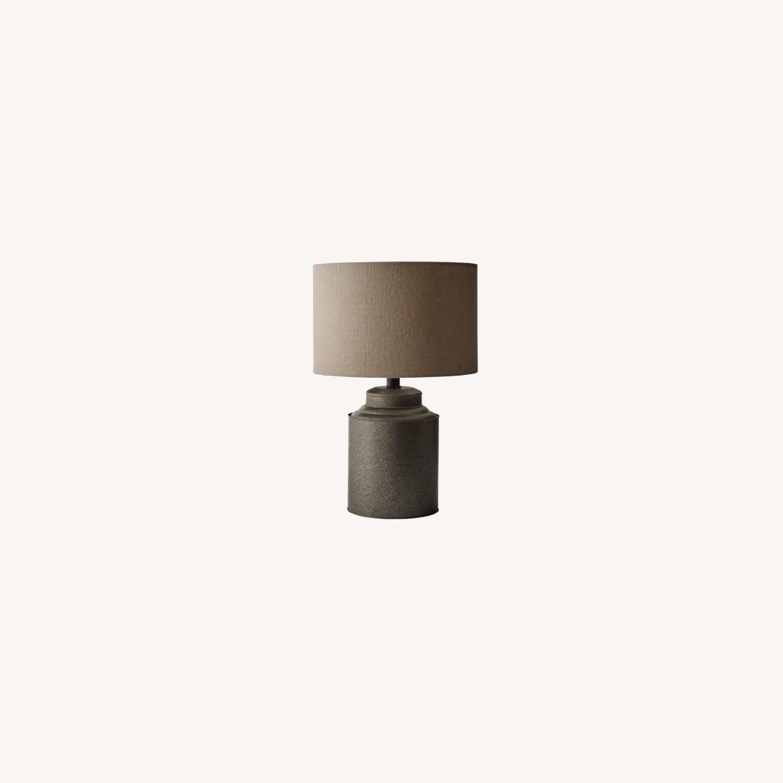Industrial Dark Grey Beige Metal Desk Table Lamp - image-0