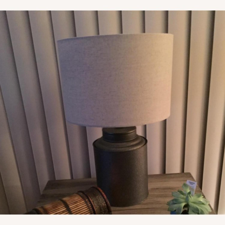 Industrial Dark Grey Beige Metal Desk Table Lamp - image-3