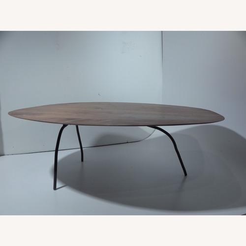 Used custom walnut coffee table steel legs for sale on AptDeco