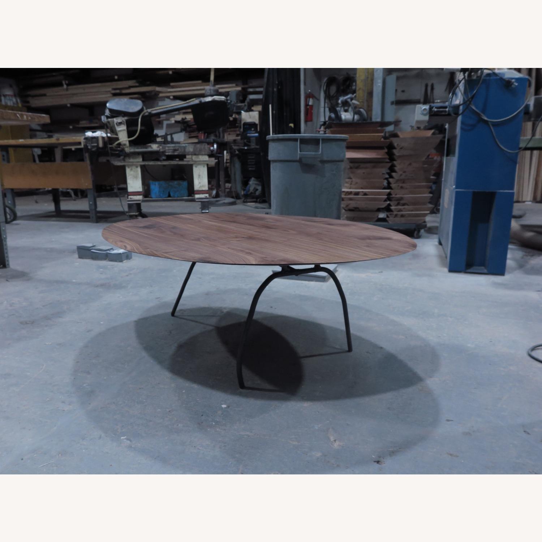 custom walnut coffee table steel legs - image-1