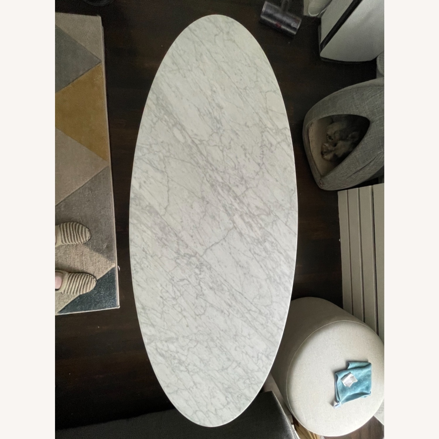West Elm Reeve Mid-Century Oval Coffee Table - Marble Top - image-8